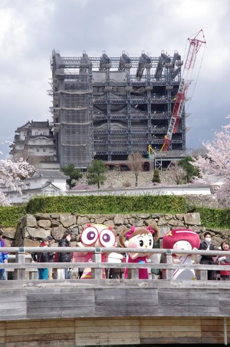 3人と姫路城